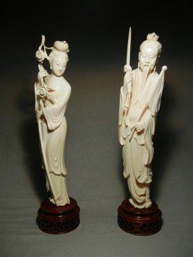 19thc. Chinese Ivory Elder & Beauty