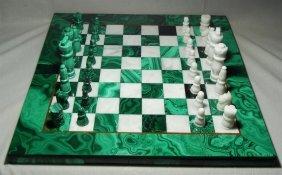 20thc. Malachite & White Onyx Chess Set
