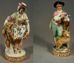 Meissen Figures Of Shepherd Boy And Girl