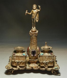 Continental Silver & Jeweled Figural Inkwell