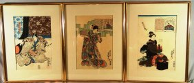 Three 19thc. Japanese Woodblock Prints