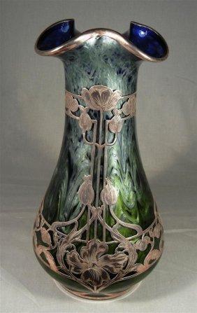 Large Silver Overlay Loetz Vase