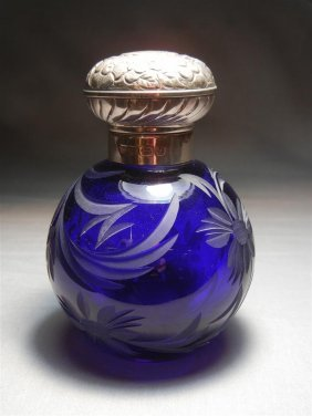Sterling & Etched Glass Perfume Bottle