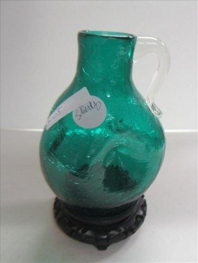 Green Crackle Glass Pinch Jug