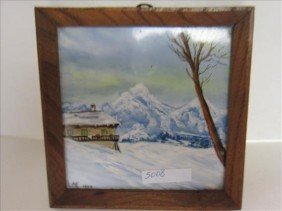 Ceramic Tile Signed NH.