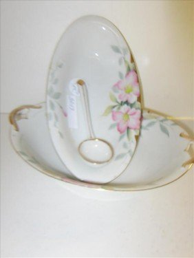 3 Pc Porcelain Dishes- Bowls And Gravy Spoon