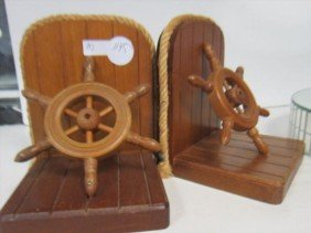 Pair Wood Bookends With Ships Wheel And Rope