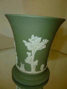"Wedgwood Green Jasperware Vase-3 3/4""h"