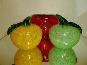 3 Piece Blown Glass Fruit Paperweights