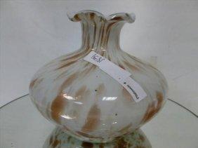 Art Glass Bulbous Ruffled Top Vase