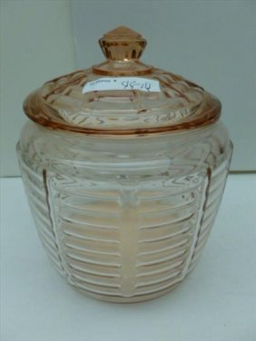 Pink Depression Glass Biscuit Jar