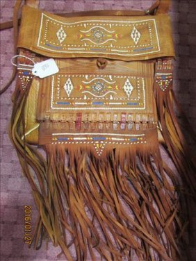 "Beaded American Indian Leather Pouch 10"" X 11"""