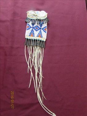 Beaded Leather Tobacco Bag With Cone Trim And Long