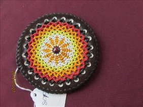 Hand Made American Indian Beaded Leather Belt Buckle