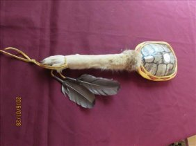 Spiritual Dance Stick W/cougar Leg, Feathers And Turtle
