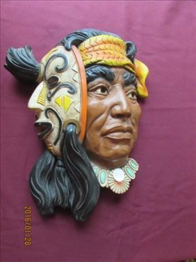 2 Faced Indian Wall Hanging 14""