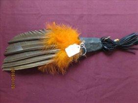 """Prayer Fan Leather, Feathers 14"""" Long"""