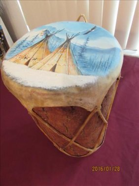 Indian Drum Made From Log With Skins On Ends - Hand