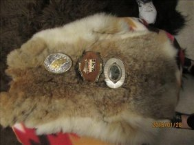 4 Pc - 3 Belt Buckles And Rabbit? Skin