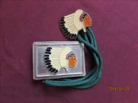2 Pc - Matching Belt Buckle And Bolo - Indian Chef On