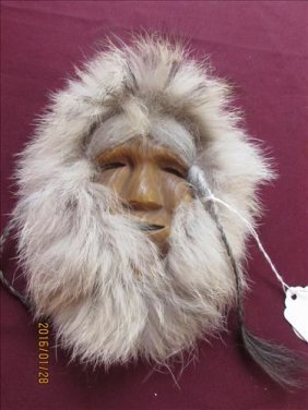 Eskimo Face By Alaska Fossil Products Wall Hanging