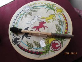American Indian Hand Made Drum By J Herzel 2005