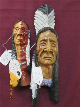 2 Pc Wood Indian Head Wall Hangings By James M Webb