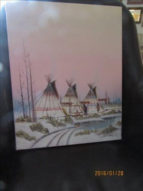 Painting Of Indian Village By J Yazzie 1904