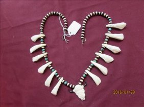 Hand Made Buffalo Teeth And Natural Bead Necklace