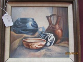 Vintage Oil/canvas Painting Of Pottery By Rosalie