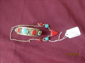 Sterling Silver?, Turquoise And Coral Bracelet And