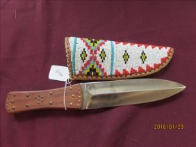 American Indian Beaded Sheath With Dagger Style China