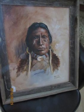 Framed Painting Of 19th Century Apache By Winter