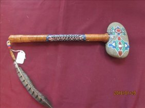 American Indian Stone Headed, Hand Painted Hatchet
