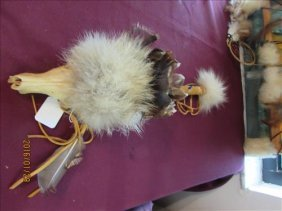 Spiritual Dance Stick With Coyote Skull, Fur, Feather,