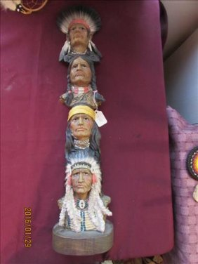 Totem Pole Made Of Indian Faces - Composite Material -