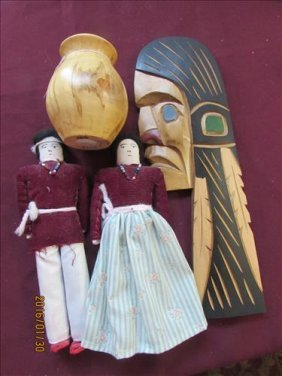 4 Pc - Cloth Dolls, Bark From Rocky Mountains And Chief