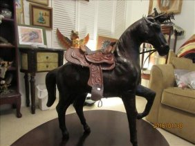 Leather Horse 13' Tall And Jaw Bone With Teeth