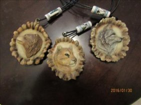 3 Medallion Necklaces With Wolf, Cougar And Bear