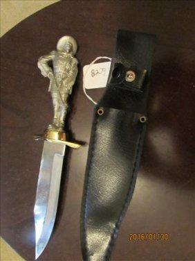 Knife W/pewter Buffalo Bill? Figure On Handle In Sheath