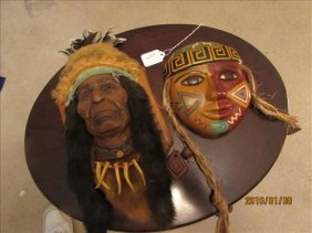 Indian Head Wall Hangings One Squaw And Weathered