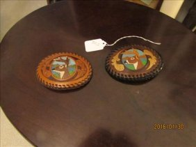 2 Leather Stag Hand Made Belt Buckles