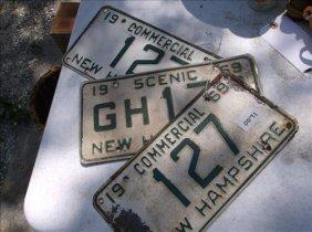 3 License Plates-new Hampshire 1969