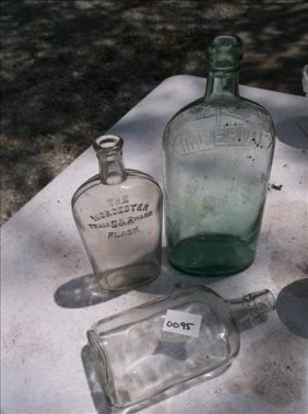 3 Vintage Glass Bottles-aqua Imperial, Worcester D&r