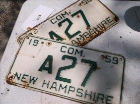 2 License Plates-new Hampshire 1959