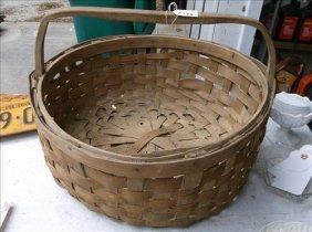 "Old & Large 19"" Handmade Woven Split-oak Basket"