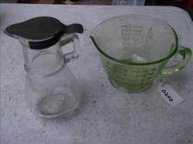 2 Kitchen Items-green Measuring Pitcher & Clear Syrup
