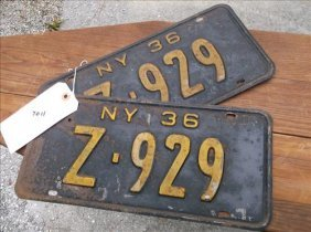 2 License Plates-new York 1936