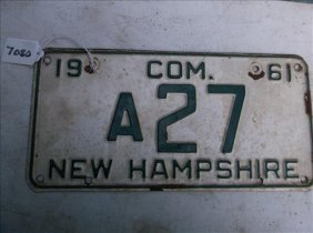 1 License Plate-new Hampshire 1961