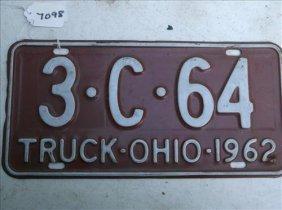 1 License Plate-ohio 1962